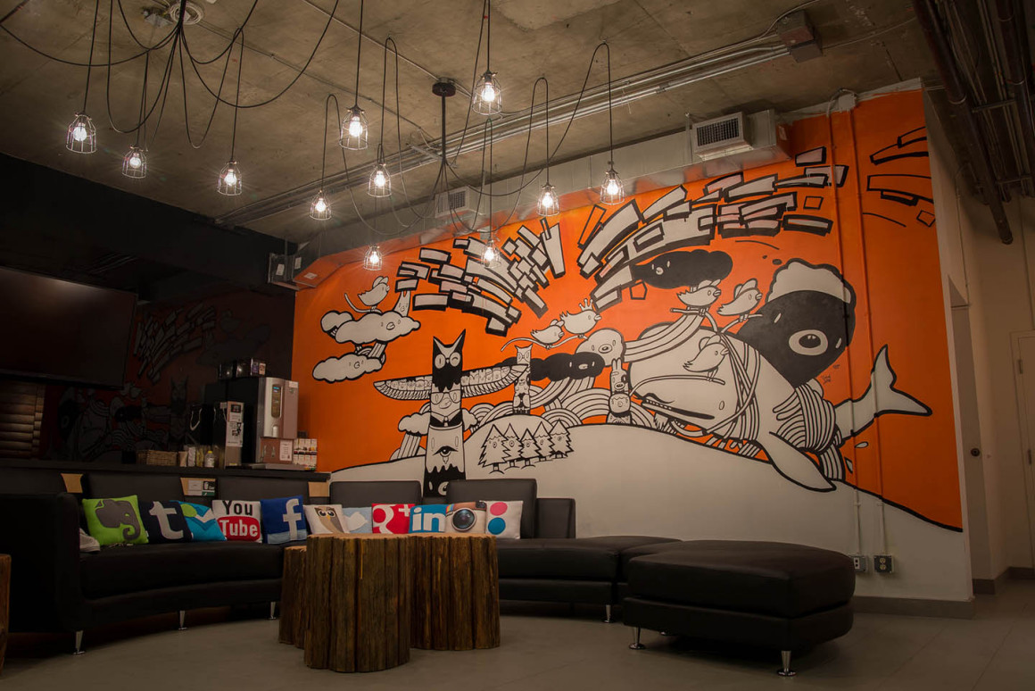 Hootsuite hq office mural carson ting for A mural with an area of 18m2